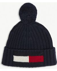 Tommy Hilfiger - Big Flag Bobble Beanie In Navy - Lyst