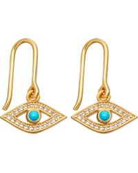 Astley Clarke - Biography 18ct Yellow-gold Plated Turquoise Evil Eye Drop Earrings - Lyst