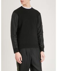 The Kooples - Zip-up Pocket Cotton-jersey And Shell Sweatshirt - Lyst
