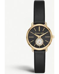 84f230df9ff9 Michael Kors - Mk2750 Portia Yellow-gold Stainless Steel And Leather Watch  - Lyst