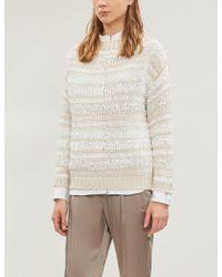 Brunello Cucinelli - Sequin-embellished Striped Cotton-blend Jumper - Lyst