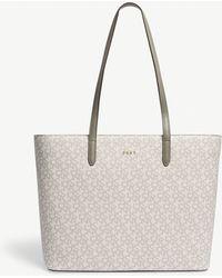 DKNY - Ladies Clay Grey Bryant Park Logo Leather Shopper - Lyst