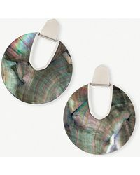 Kendra Scott - Diane Rhodium-plated And Black Mother-of-pearl Disc Earrings - Lyst