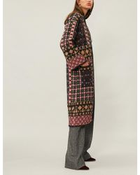 Etro - Geometric-patterned Knitted Coat - Lyst