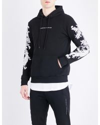Criminal Damage - Paulo Floral-embroidered Cotton-jersey Hoody - Lyst