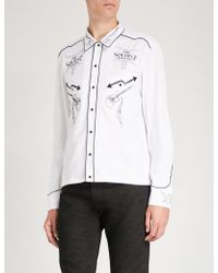 The Soloist - Rock'n'roll-embroidery Cotton And Silk-blend Shirt - Lyst