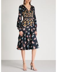 Peter Pilotto - Fig Tree-print Silk-crepe Midi Dress - Lyst