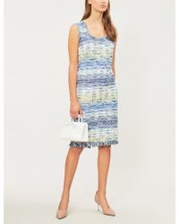 St. John - Fringed Tweed Dress - Lyst