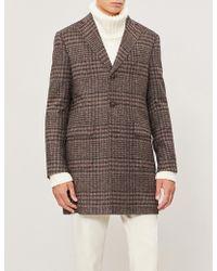 Corneliani - Checked Single-breasted Wool-blend Jacket - Lyst