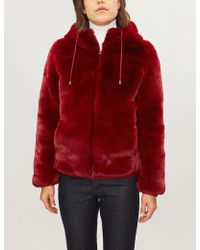 Maje - Hooded Faux Fur Jacket - Lyst