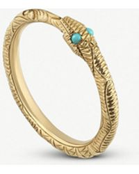 Gucci - Ouroboros 18ct Yellow-gold And Turquoise Ring - Lyst