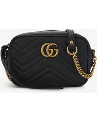 0c3fc137a62a Gucci Gg Marmont Mini Quilted-leather Cross-body Bag in Black - Lyst