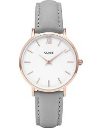Cluse - Cl30002 Minuit Rose Gold-plated Stainless Steel And Leather Watch - Lyst