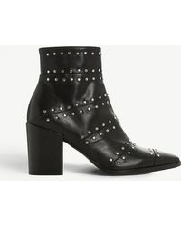 Dune Black - Parlour Studded Leather Ankle Boots - Lyst