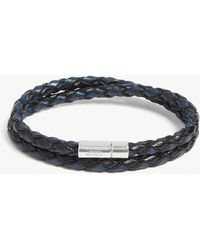 Tateossian - Scoubidou Double Wrap Leather And Sterling Silver Bracelet - Lyst