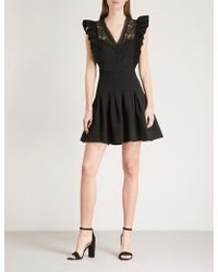 Claudie Pierlot | Lace-embroidered Fit-and-flare Crepe Mini Dress | Lyst