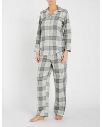 Ralph Lauren - Checked Brushed Cotton-blend Pyjama Set - Lyst