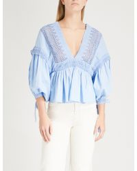 Free People - Drive You Mad Cotton Blouse - Lyst