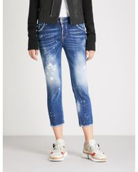 DSquared² - Cropped High-rise Distressed Straight-leg Jeans - Lyst