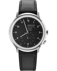 Mondaine - Mh1-r2020-lb Helvetica No1 Regular Leather And Stainless Steel Watch - Lyst