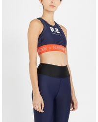 06adb8cd7f104 P.E Nation - Womens Blue Stripe Figure Four Stretch-jersey Crop Top - Lyst