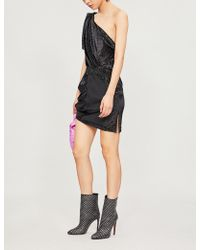 Attico - Vera One Shoulder Velvet Mini Dress - Lyst