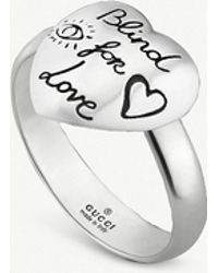 Gucci - Blind For Love Heart Shape Sterling Silver Ring - Lyst
