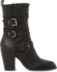Steve Madden - Wen Leather Buckle Boots - Lyst