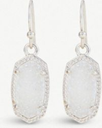 Kendra Scott - Lee Rhodium And Iridescent Drusy Stone Earrings - Lyst