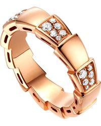 bvlgari serpenti 18kt rosegold and diamond ring lyst