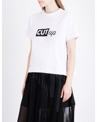 Sacai - Cut Up Cotton-jersey T-shirt - Lyst