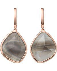 Monica Vinader - Siren 18ct Rose-gold Vermeil Grey Agate Stud Earrings - Lyst