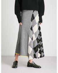 Pringle of Scotland - Checked Wool Midi Skirt - Lyst