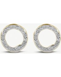 Monica Vinader - Riva 18ct Yellow-gold Vermeil And Pavé Diamonds Circle Stud Earrings - Lyst