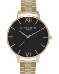 Olivia Burton - Ob15bl24 Big Dial Gold-plated Watch - Lyst