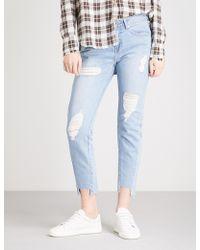 SJYP - Unbalanced-hem Slim-fit High-rise Jeans - Lyst