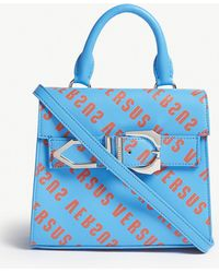 Versus - Orange And Blue All-over Print Iconic Buckle Logo Leather Bag - Lyst