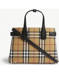 Burberry - Small Banner Vintage Check Canvas Bag - Lyst