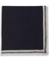 Canali - Solid Border Wool Pocket Square - Lyst