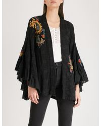 Free People - Dottie Fluted-sleeve Embroidered Woven Kimono - Lyst