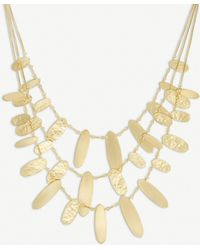 Kendra Scott - Nettie Hammered Tab 14ct Gold-plated Necklace - Lyst