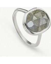 Monica Vinader - Siren Sterling Silver And Labradorite Medium Stacking Ring - Lyst