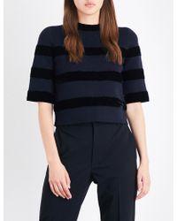 Maje | Meline Velvet Striped Knitted Top | Lyst