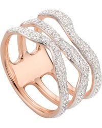 Monica Vinader - Riva Wave Rose-gold Vermeil Pavé Diamond Triple Ring - Lyst