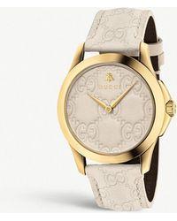 Gucci - Ya1264033 Unisex G-timeless Leather Strap Watch - Lyst