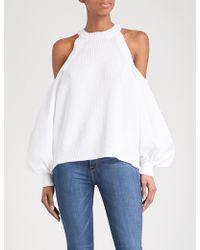 Free People - Catch A Glimpse Cold-shoulder Cotton-blend Top - Lyst