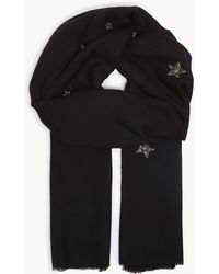 Janavi - Night Dreams Embroidered Cashmere Scarf - Lyst