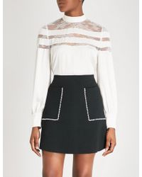Sandro - Ladies Ecru White Pussy-bow Lace-panelled Satin Blouse - Lyst