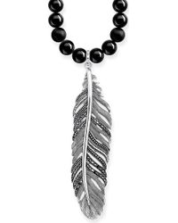 Thomas Sabo - Rebel At Heart Feather Sterling Silver Obsidian And Crystal Necklace - Lyst