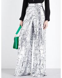 Delpozo - Metallic High-rise Trousers - Lyst